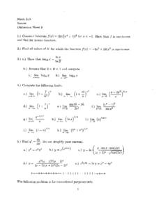Discussion Sheet 9:  Functions and Limits Worksheet