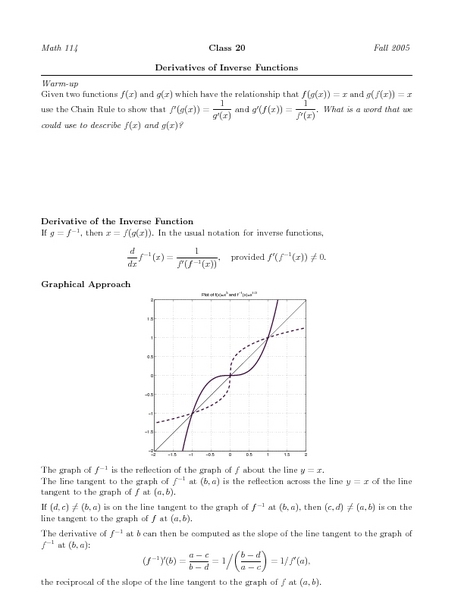Derivatives of Inverse Functions Worksheet for Higher Ed   Lesson Planet