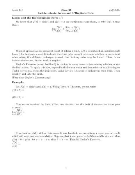 Indeterminate Forms and L'Hopital's Rule Worksheet for ...