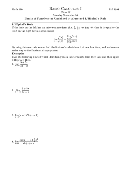 Limits of Functions as Undefined X-Values and L'Hopital's ...