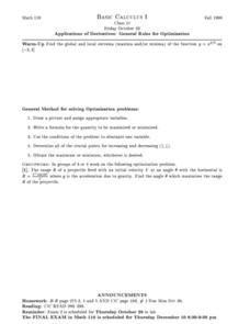 Applications of Derivatives: General Rules for Optimization Worksheet