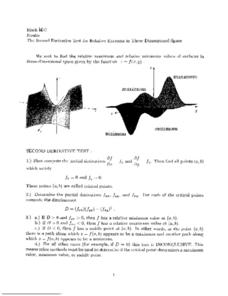 The Second Derivative Test for Relative Extreme in Three Dimensional Space Worksheet
