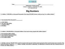 Big Numbers, Volume 6, #1 Worksheet