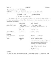 Linear Functions of Two Variables Worksheet