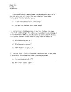 Worksheet 7:  Distance and Rate Worksheet