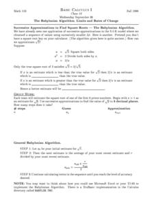 The Babylonian Algorithm, Limits and Rates of Change Worksheet