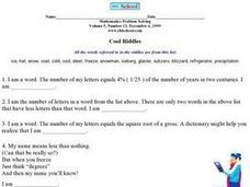 Cool Riddles Worksheet