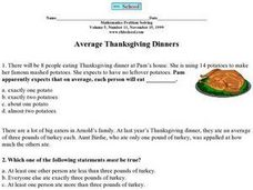 Average Thanksgiving Dinners Worksheet