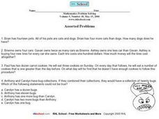 Assorted Problems (Story Problems) Worksheet