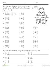 Like Fractions Worksheet