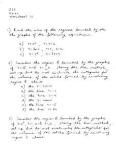 Worksheet 12:  Area of Regions Worksheet