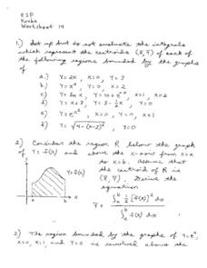 Worksheet 14:  Integrals Worksheet