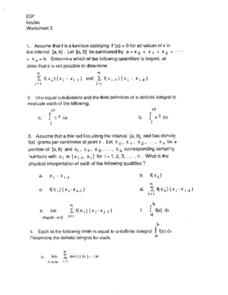 Worksheet 3:  Functions & Limits Worksheet