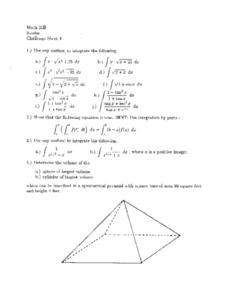 Challenge Sheet 4:  Integration Worksheet