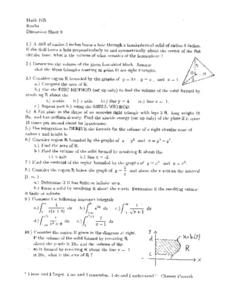 Discussion Sheet 9: Volume and Area Worksheet