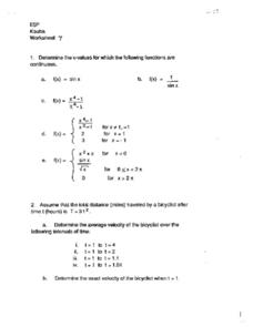Continuous Functions Worksheet