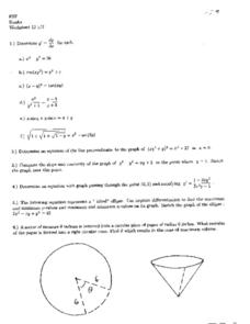 Worksheet 13: Slope and Concavity Worksheet