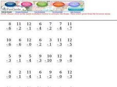 Subtraction, 0-12, #2 Worksheet