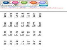 Subtraction Gala Worksheet