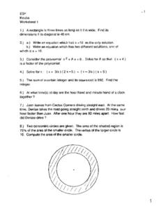 Worksheet 1:  Polynomials and Integers Worksheet