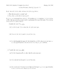 Infinite Series:  Convergent or Divergent Worksheet