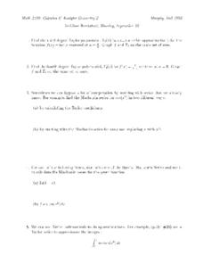 Cubic Approximation Worksheet