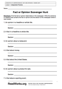 Fact or Opinion Scavenger Hunt Worksheet