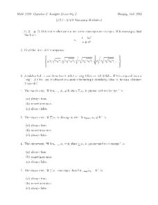 Summary Worksheet:  Sequences Worksheet