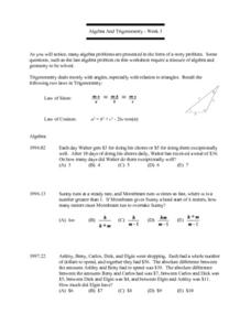 Algebra And Trigonometry - Week 3:  Law of Sines Lesson Plan