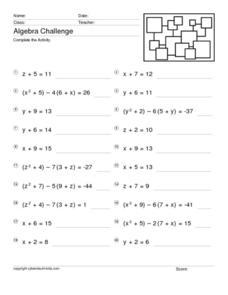 Algebra Challenge: One Variable Equations 8th - 10th Grade ...