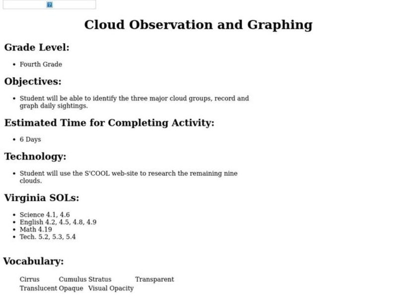 Cloud Observation and Graphing Lesson Plan