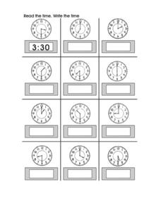 Read the Time.  Write The Time. Worksheet
