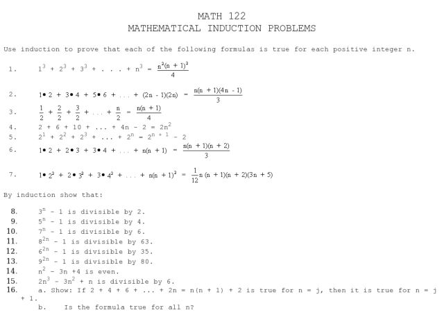 Mathematical Induction Problems Worksheet
