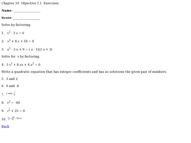 Chapter 10 - Objective 1.1 Quadratic Equation Worksheet