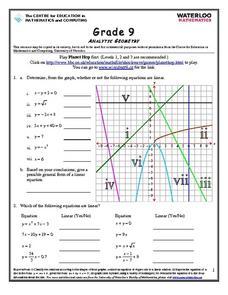 analytic geometry worksheet for 9th grade lesson planet. Black Bedroom Furniture Sets. Home Design Ideas