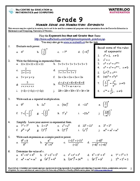 Number Sense And Numeration Exponents Worksheet For 8th