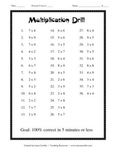 Multiplication Drill Lesson Plan