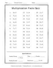 Multiplication Facts Quiz Lesson Plan