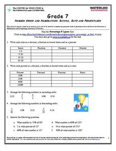Ratios, Rates and Percentages Worksheet