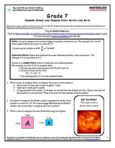Number Sense and Numeration: Ratio and Rate Worksheet