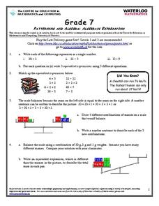 Grade 7 Patterning and Algebra: Algebraic Expressions Worksheet