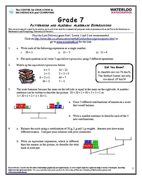 Math Equations Worksheets Grade 7 - Tessshebaylo