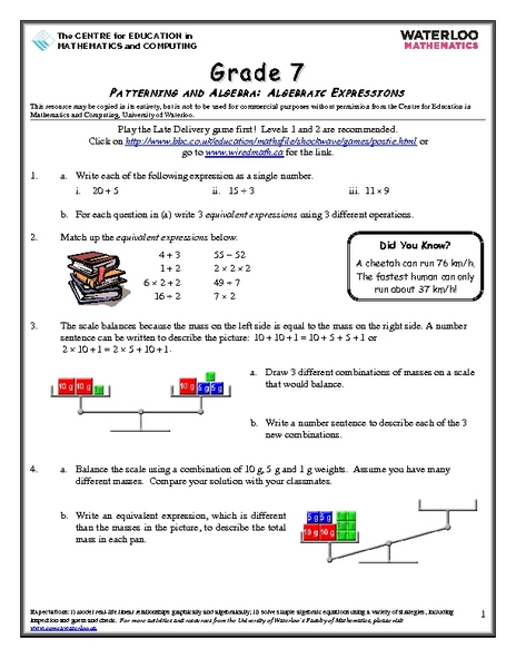 Grade 7 Patterning And Algebra Algebraic Expressions Worksheet For