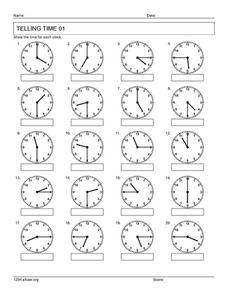 Telling Time 01 Worksheet