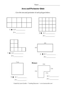 Area and Perimeter Quiz Lesson Plan