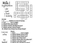 Math 1 (Crossword Puzzle) Worksheet