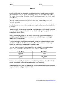 Clouds Worksheet