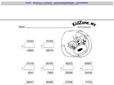 Five Digit Subtraction Worksheet