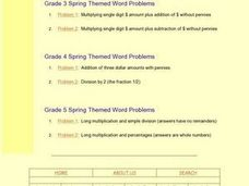 Grade 3 Spring Themed Word Problems: Problem 1 Worksheet
