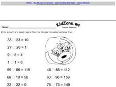 Number Sentences: Minus and Plus Worksheet